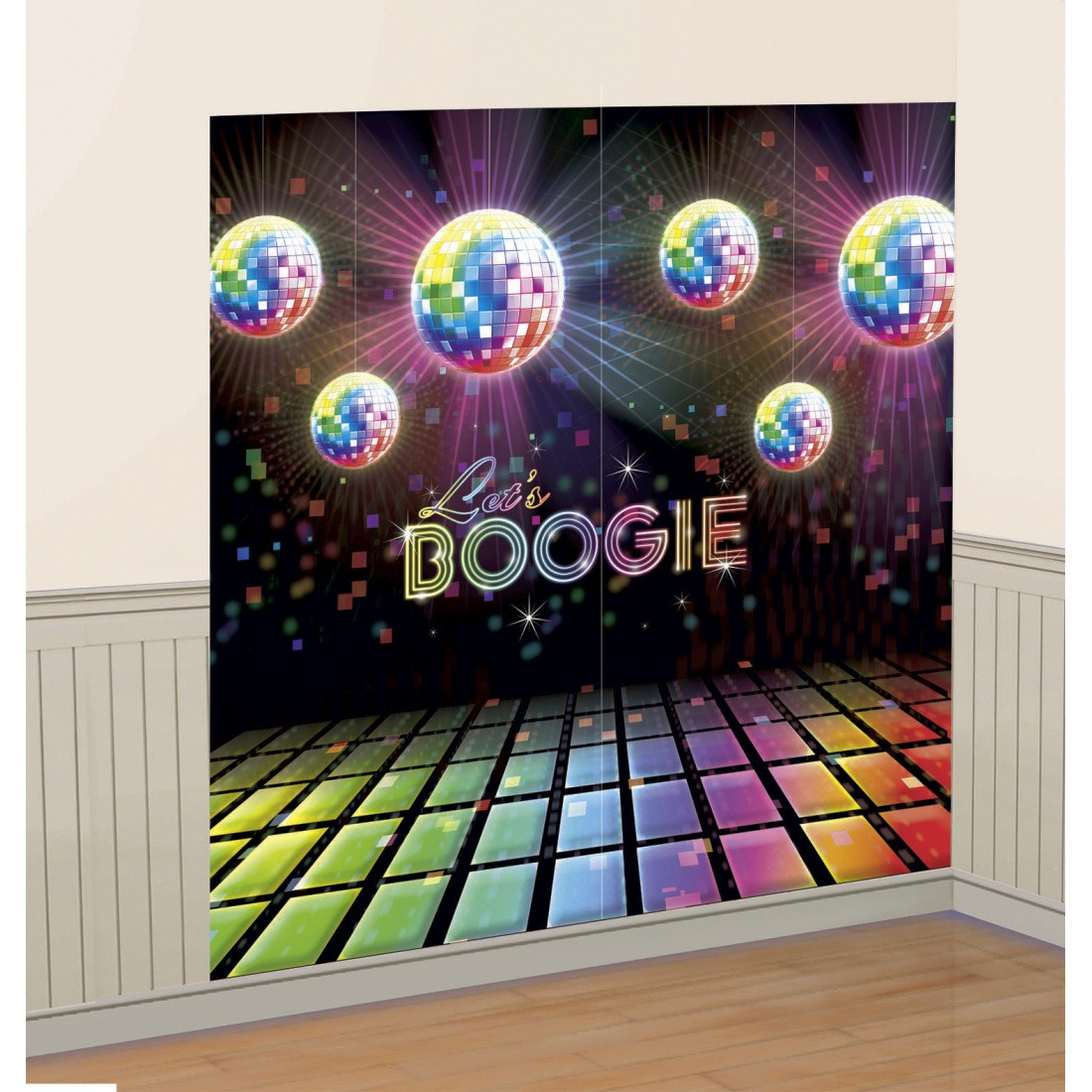 1 65 x 1 65 m 70er jahre wanddeko folie disco wandbild discokugel wandfolie 70 s wanddekoration. Black Bedroom Furniture Sets. Home Design Ideas
