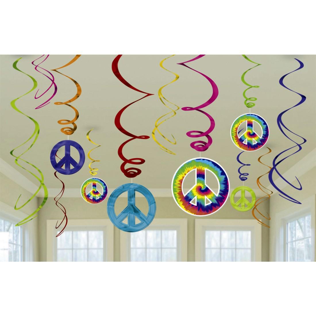 12 Stk Party Spiralen Deko Girlanden 70er Jahre 60 S Hangedeko