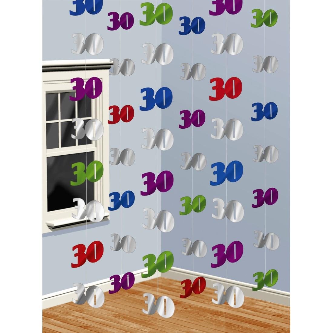 6 stk x 2 m 30 geburtstag h nge deko 2 m h nge girlande geburtstagsgirlande h ngedeko party. Black Bedroom Furniture Sets. Home Design Ideas