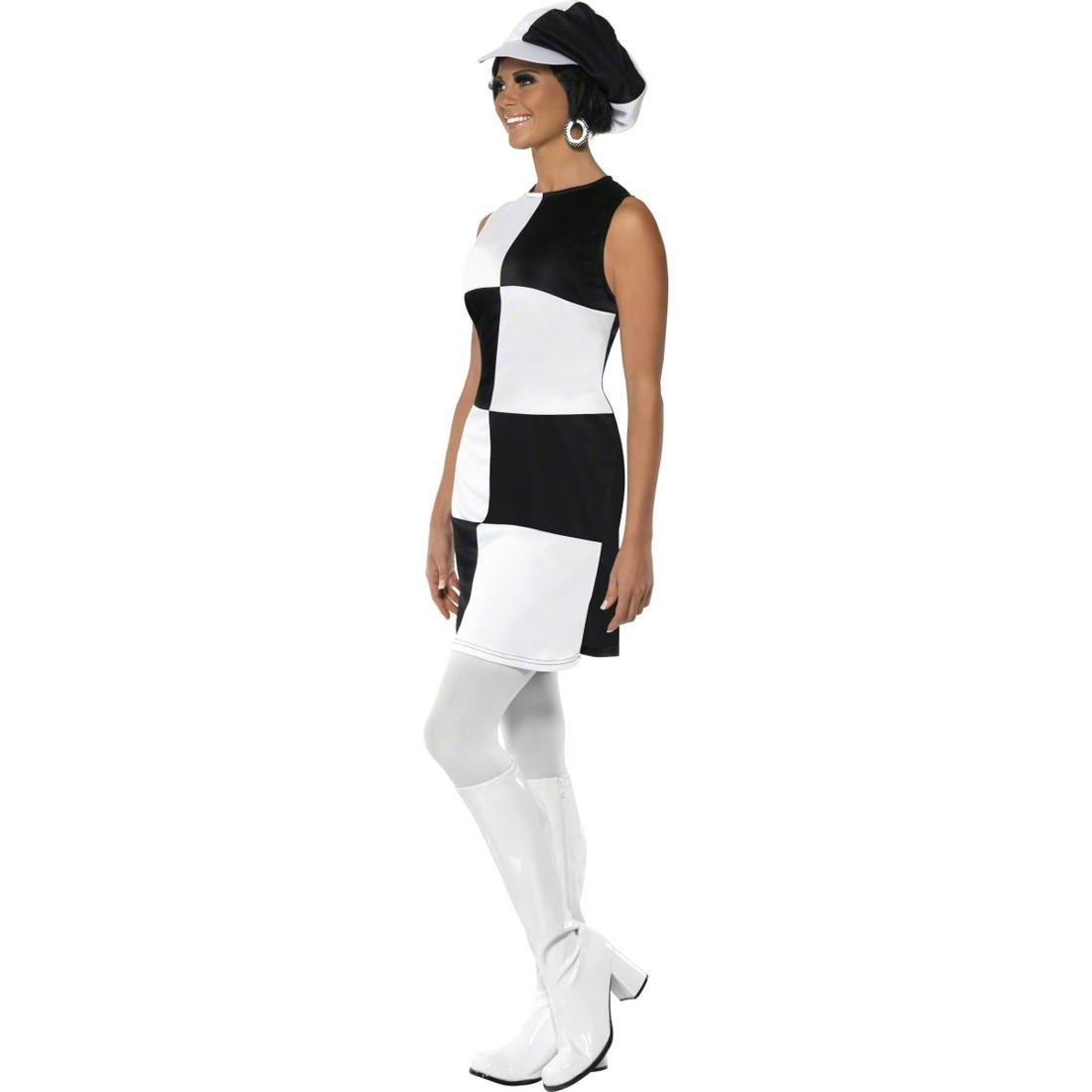Sechziger Jahre Kostüm Party Girl Outfit weiß schwarz L 44/46 60er ...