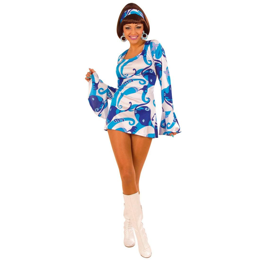 70er Jahre Damen Party Kleid blau Kostüm Gr L, 22,99 €