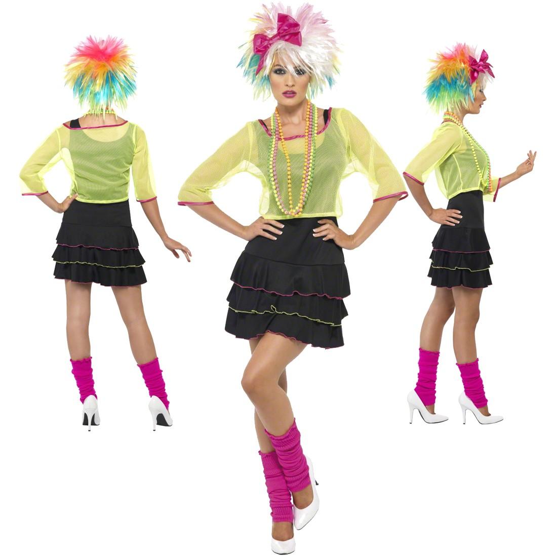 80er Jahre Kostüm Popstar Damenkostüm Mehrfarbig M 4042 Achtziger