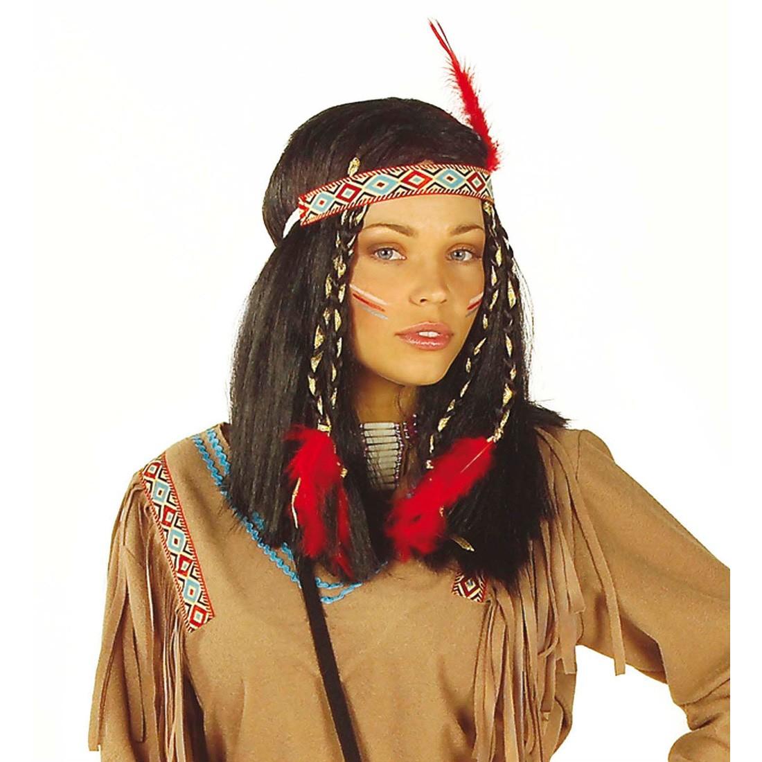Indianer Frau: Cheyenne Indianerin Perücke Pocahontas Schwarz, 13,99