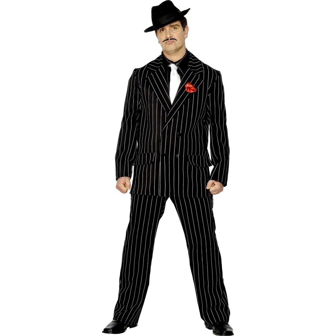 Gangster Kostum 20er Jahre Mafia Outfit Schwarz M 48 50