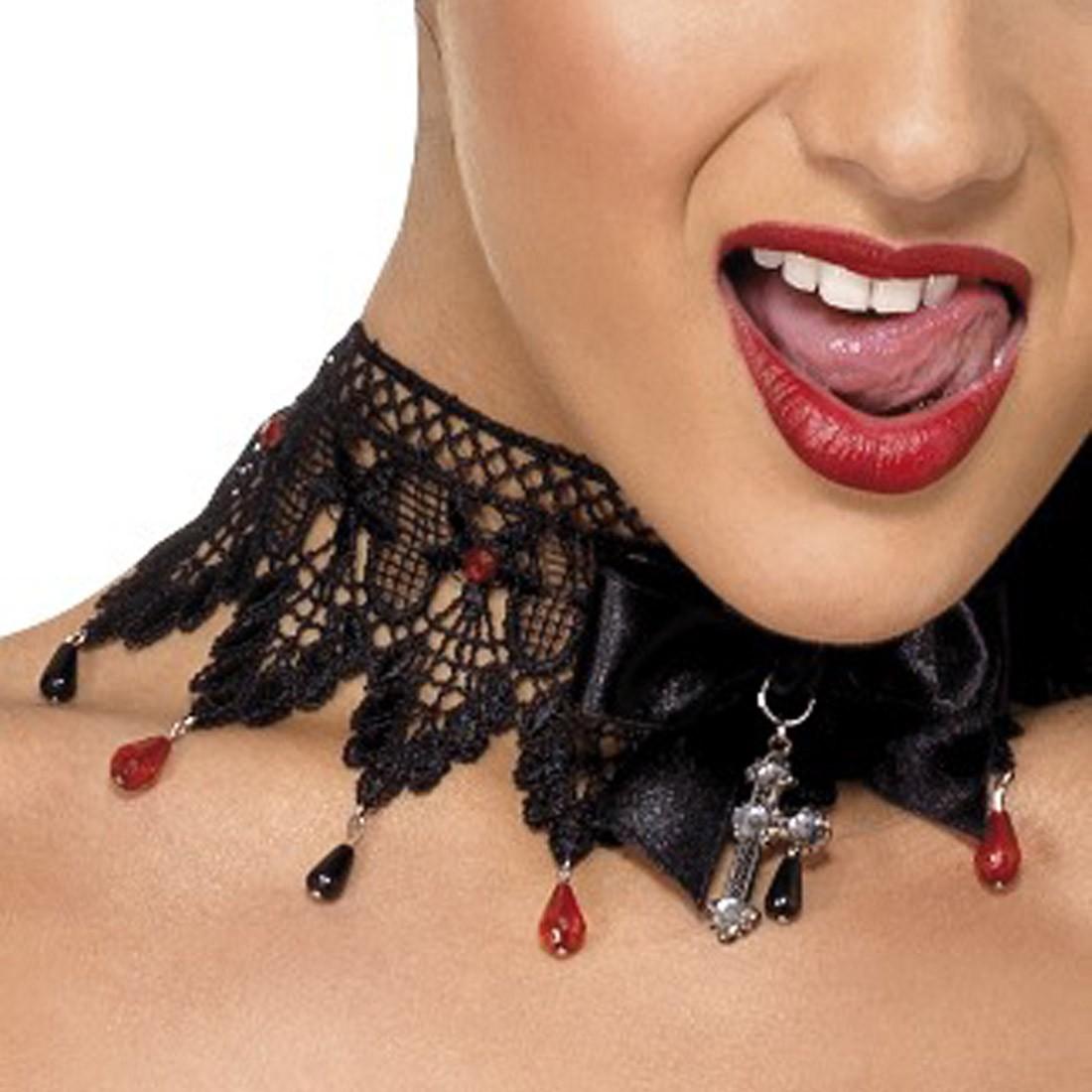 Gothic Barock Halskette Strass Halsband schwarz rot Collier Kette ...