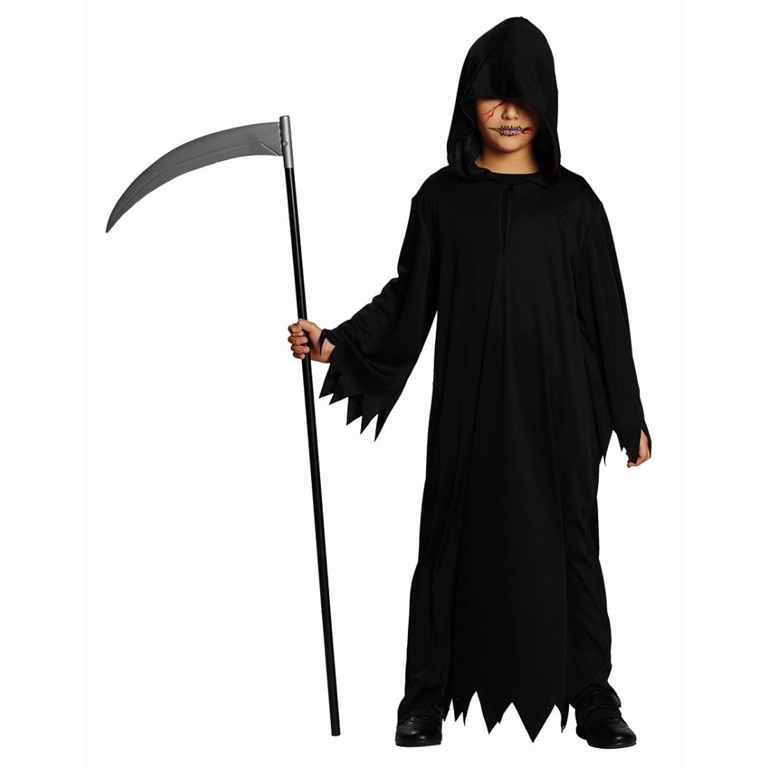 Halloween Gewand Kinder Schwarze Kutte Sensenmann Kostüm Geist