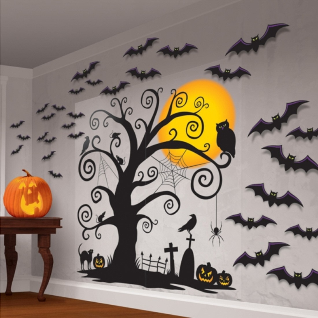 halloween wanddeko friedhof wand deko 32 tlg 7 99. Black Bedroom Furniture Sets. Home Design Ideas