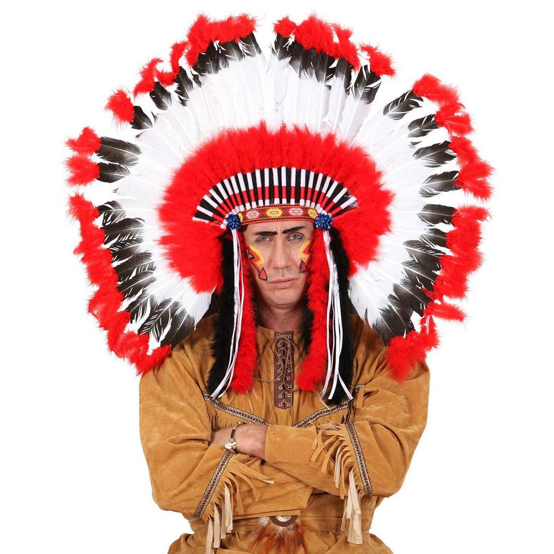Indianer Kopfschmuck Hauptling Federschmuck Federhaube Feder Perucke