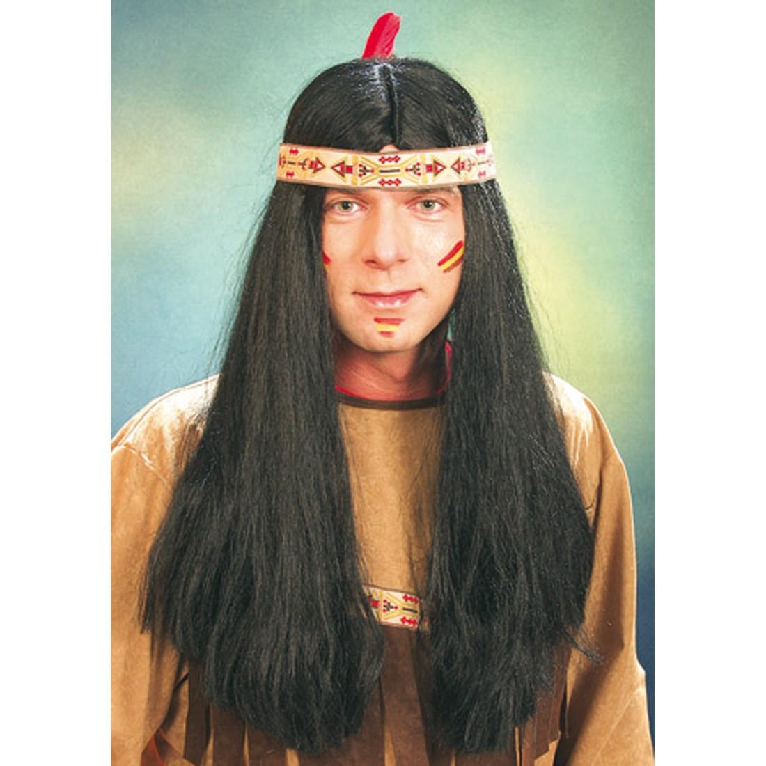 Indianer Frisur | Indianer Perucke Manitu Schwarz Indianerperucke 16 99