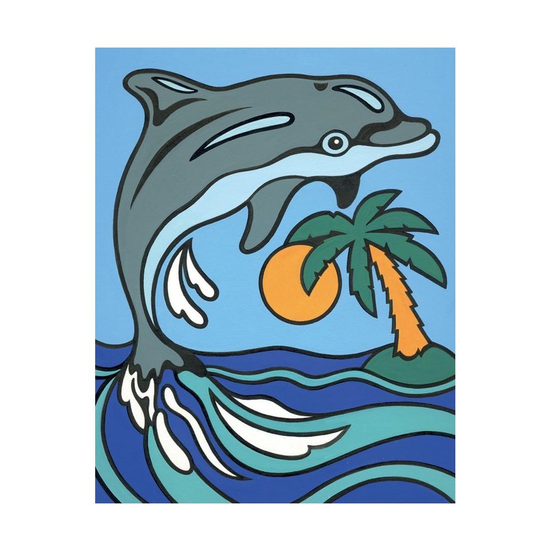 katze und delfin  malen nach zahlen  mammut 899