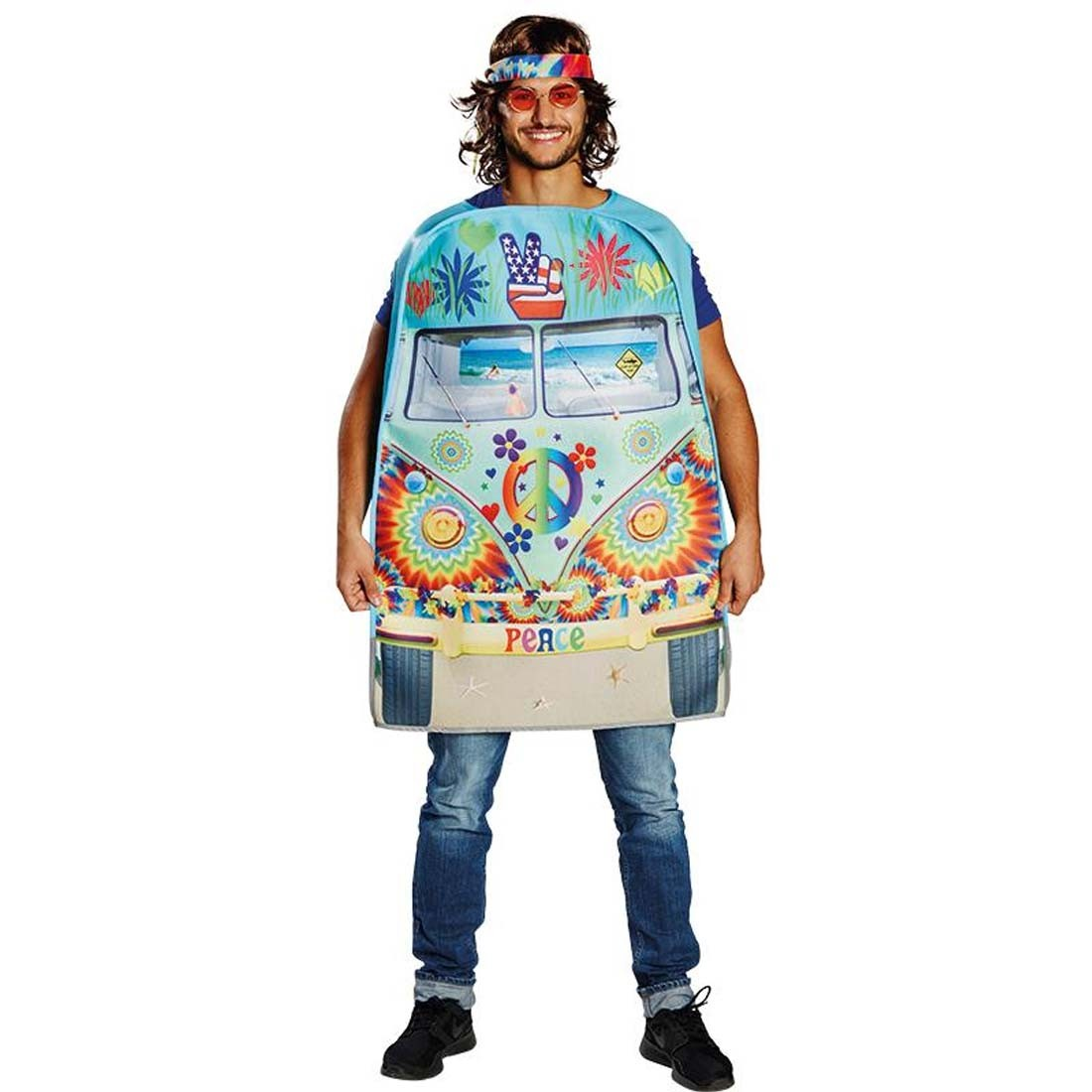 lustiges hippie bus kost m flower power outfit 29 99. Black Bedroom Furniture Sets. Home Design Ideas