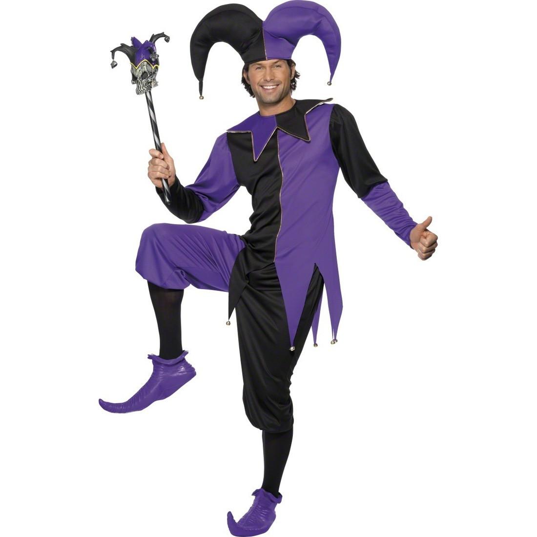 Narren kostüm schwarz lila m 48/50 narrenkostüm gaukler kostüm ...