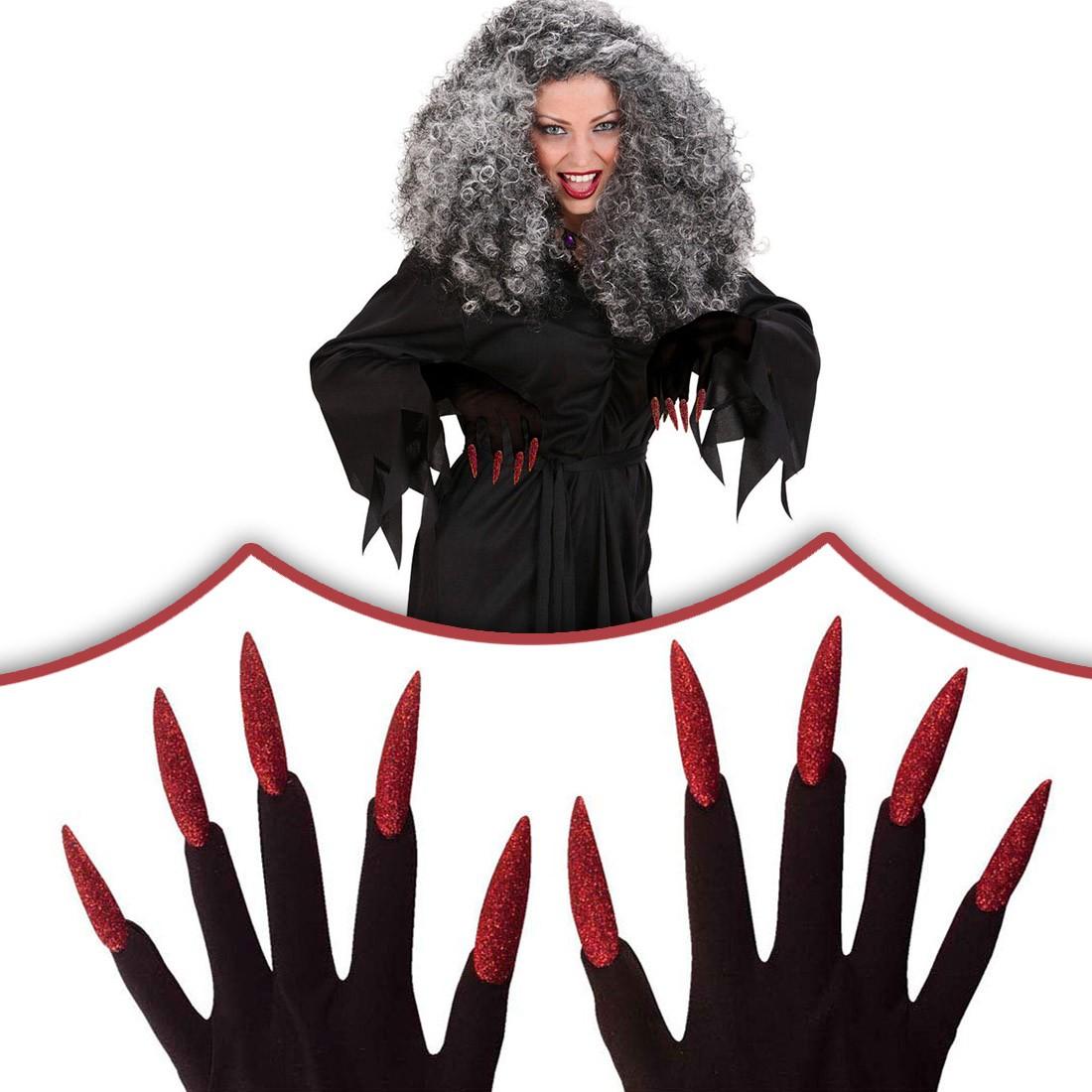 Rote Halloween Hexen Handschuhe mit Nägeln Hexenhandschuhe, 5,99 €
