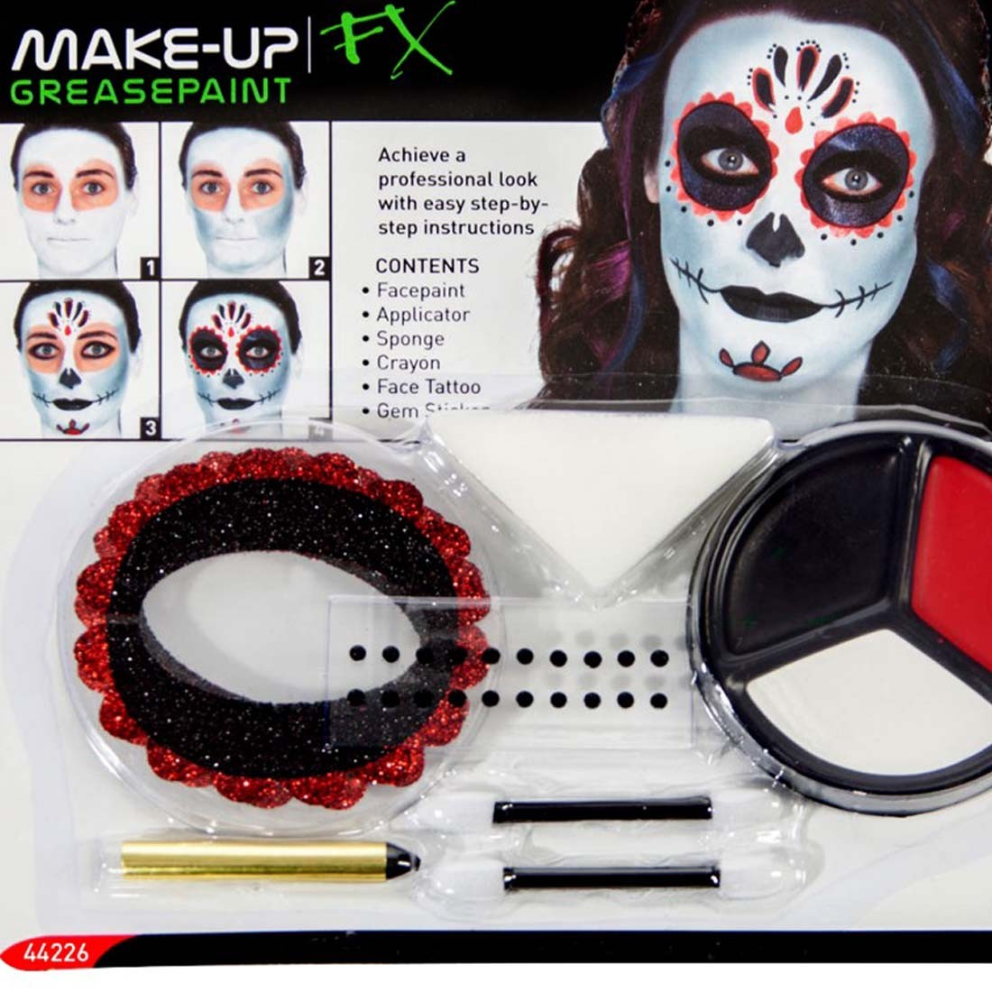 schminke mexikanische totenmaske sugar skull makeup set mehrteilig 7 49. Black Bedroom Furniture Sets. Home Design Ideas