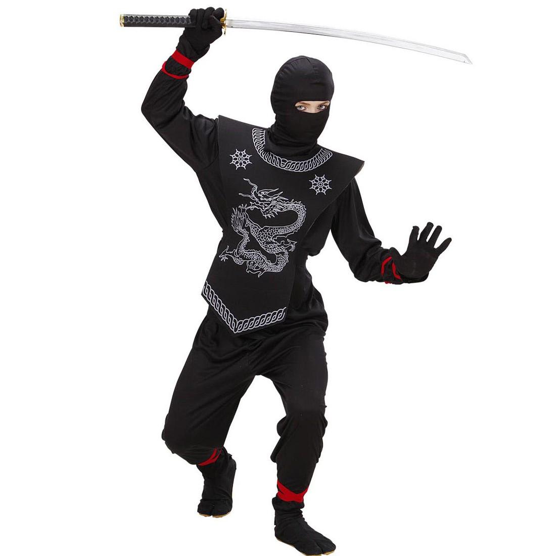 schwarzer ninja kost m kinder ninjakost m samurai kinderkost m asia k mpfer kriegerkost m japan. Black Bedroom Furniture Sets. Home Design Ideas