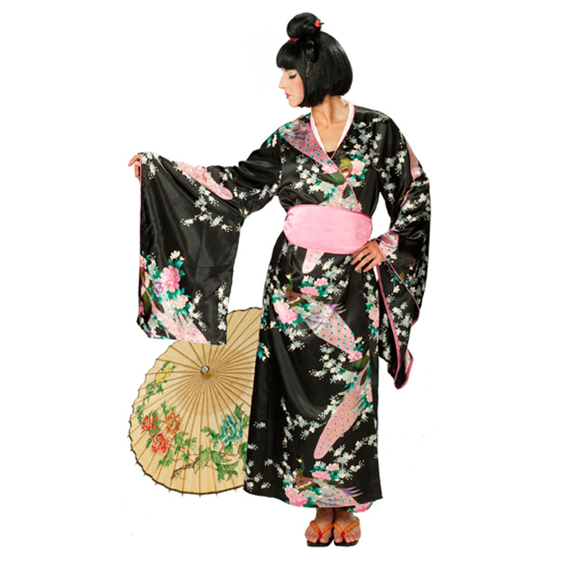 schwarzer kimono kost m geisha mit bl ten 39 99. Black Bedroom Furniture Sets. Home Design Ideas