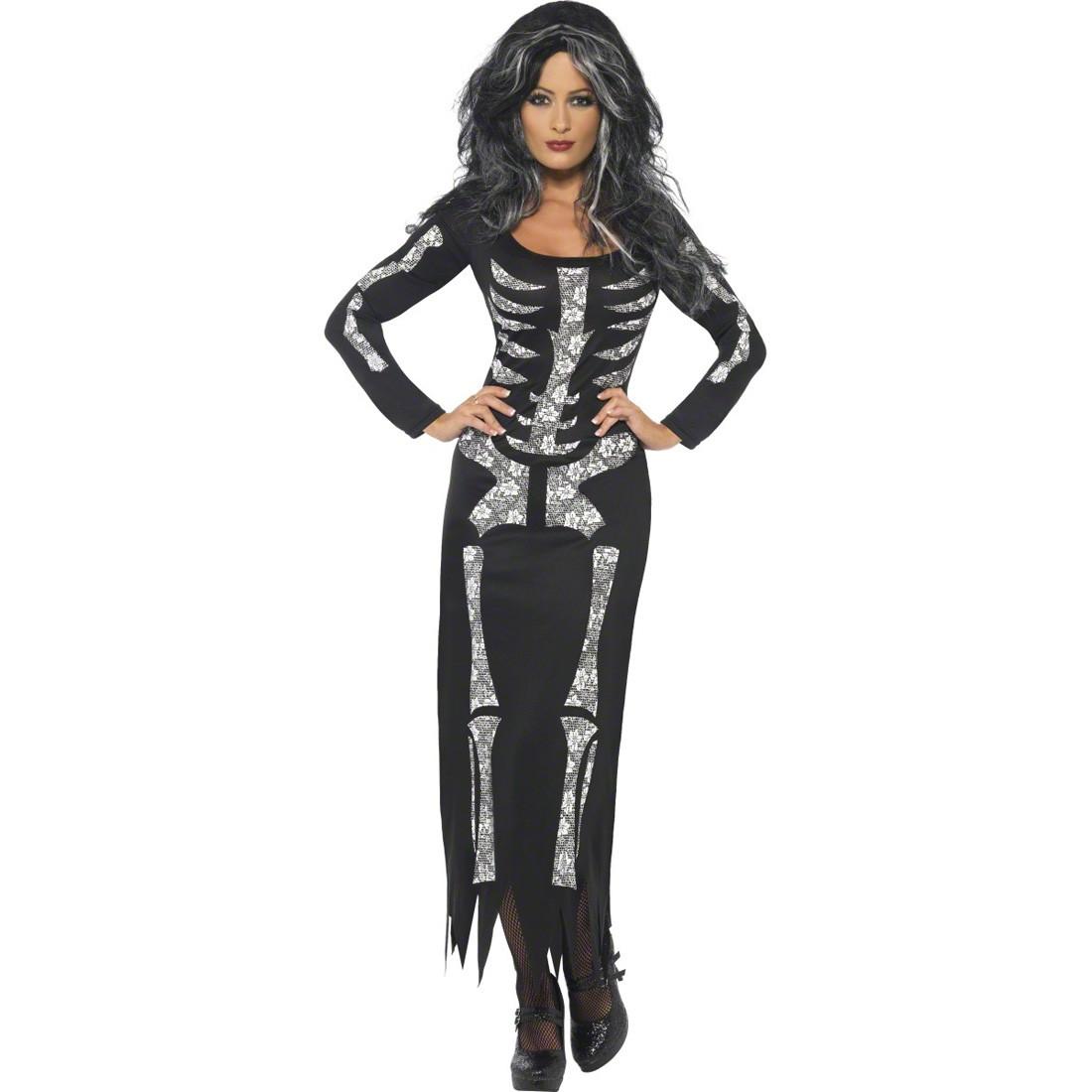 skelett kostum damen skelettkostum halloween