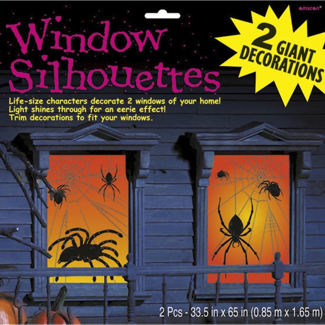 Spinnen fensterbilder raumdeko horror 85 x 165 cm 2 tlg halloween fensterdeko fensterbild - Halloween fensterbilder ...