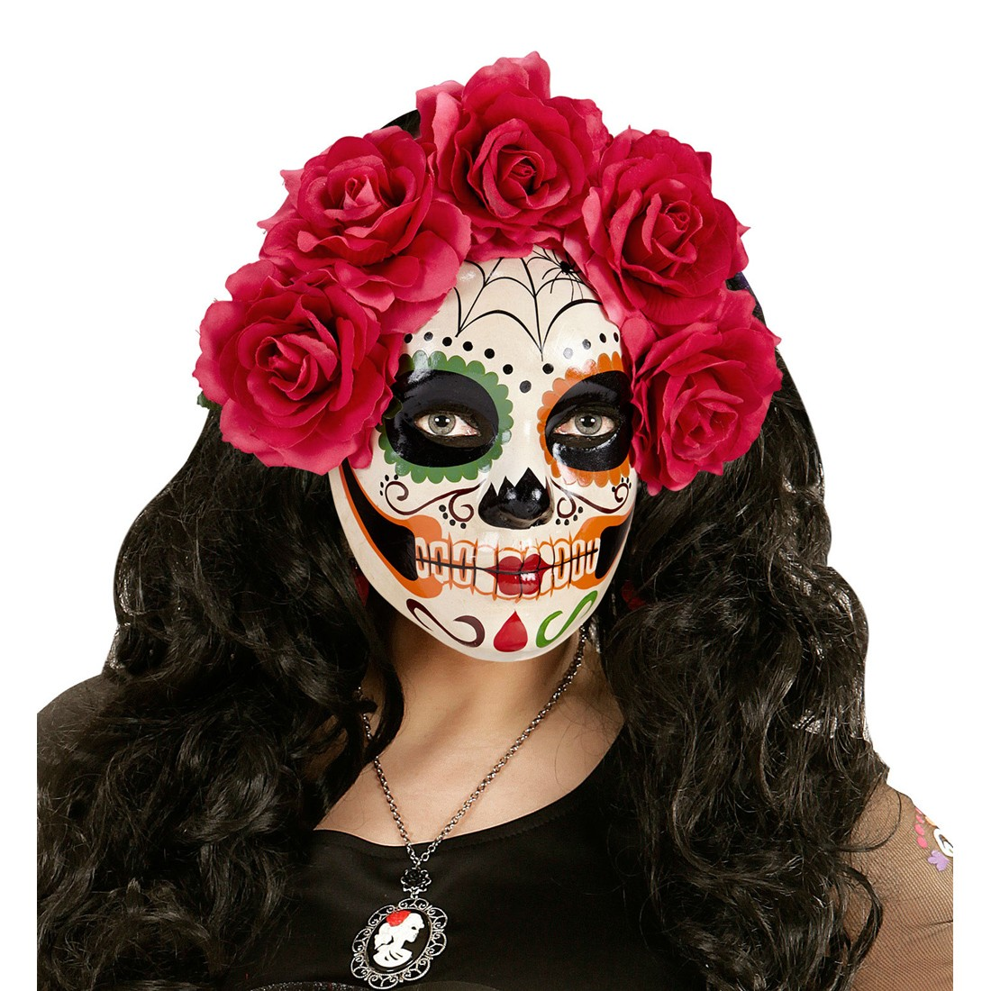 sugar skull maske mit roten rosen la catrina skelett todesmaske 14 99. Black Bedroom Furniture Sets. Home Design Ideas
