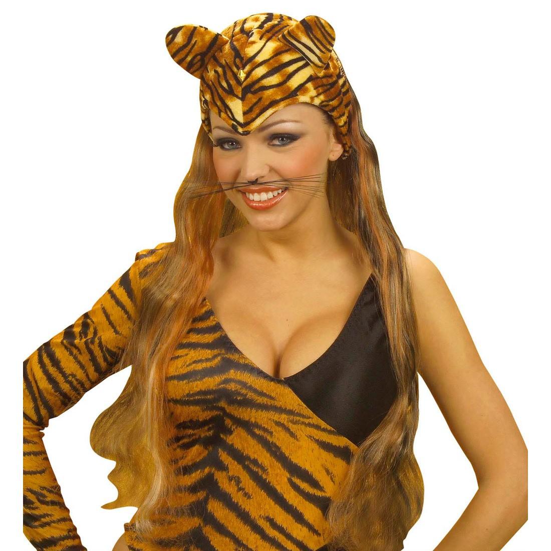 tiger m tze mit ohren und haaren tigerm tze braun 11 99. Black Bedroom Furniture Sets. Home Design Ideas