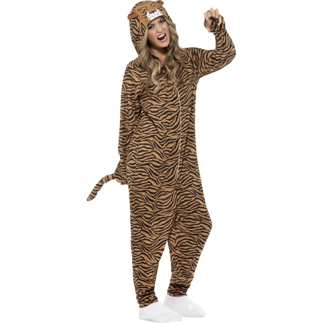 Tigerkostüm Jumpsuit Tiger Kostüm Ganzkörper Katzenkostüm Tierkostüm