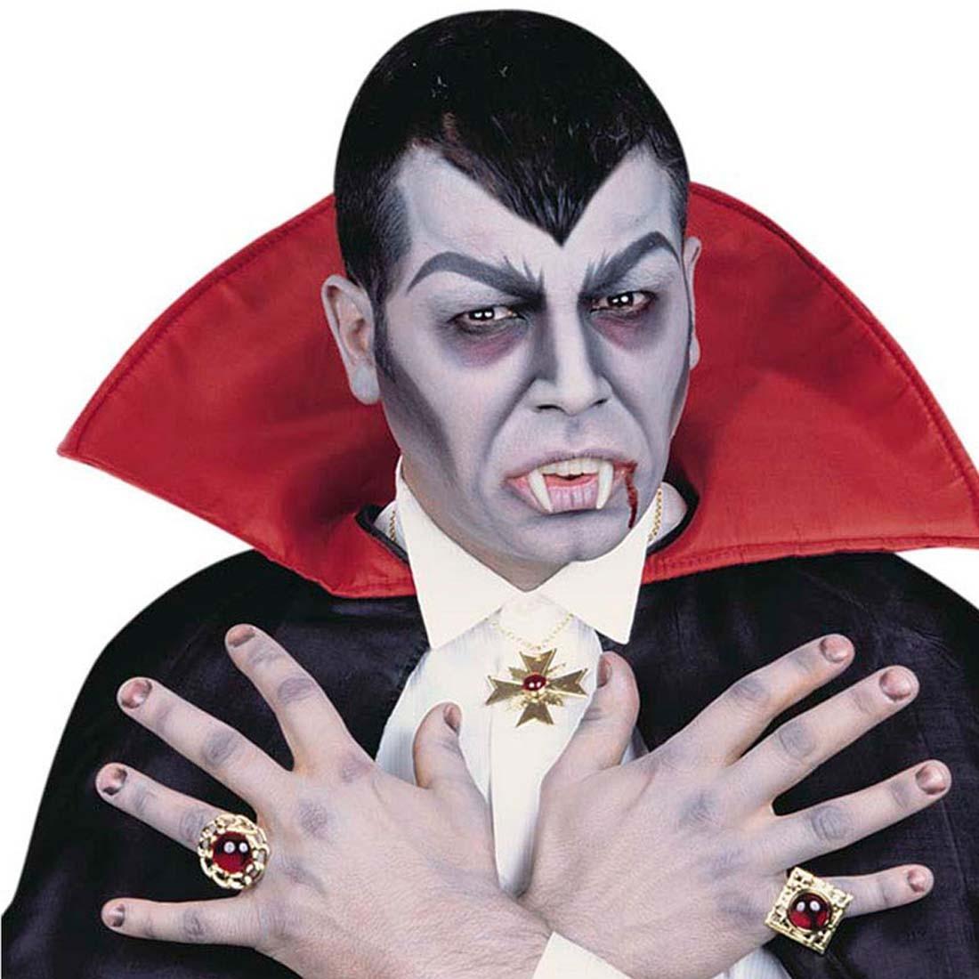Vampir Schmuck Set Dracula Kette Und Zwei Ringe Gothic Halskette Und