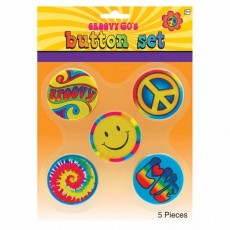 60er 70er Jahre Hippie Buttons funny Flower Power Pin...