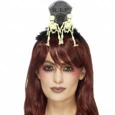 Halloween Tiara Grabstein Skelett Diadem Friedhof