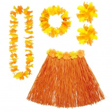 Hawaii Set orange Damen Aloha Kostüm