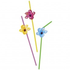 Hibiskus Cocktail Strohhalme Hawaii Trinkhalme 6 Stk
