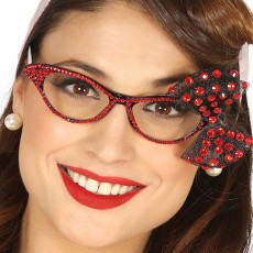 Rockabilly Retro-Brille Schwarz-Rot