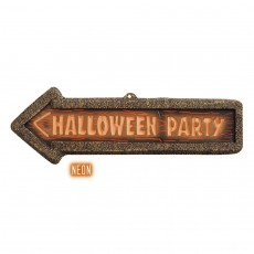 Halloween Party Hinweisschild Wegweiser Schild 3D- neon...