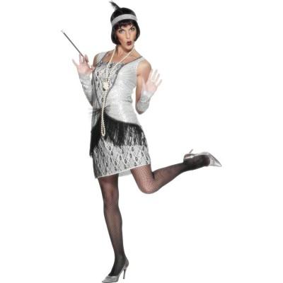 Charleston Kleid silber L 44//46 Charlestonkleid Damenkostüm 20er Jahre Outfit