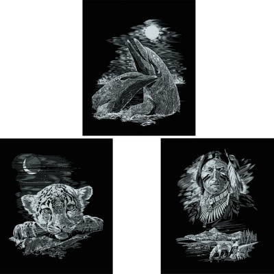 Fantasie Kratzbild 3er Set Scraper Silber 9 99