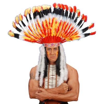 Hauptling Indianer Kopfschmuck Haarschmuck Federhaube 21 99