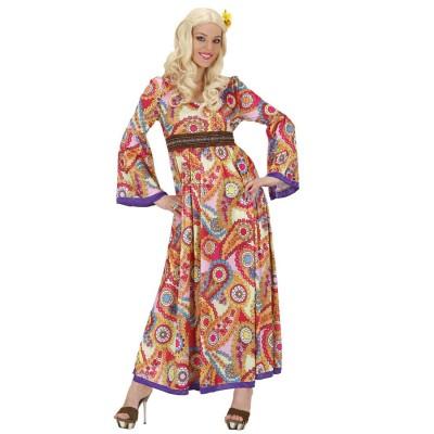 60er 70er Jahre Flower Power Kostum Hippie Kleid Outfit Tunikakleid