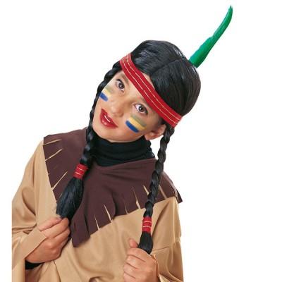 Kinder Perucke Indianerin Schwarz Karneval Kind 9 99