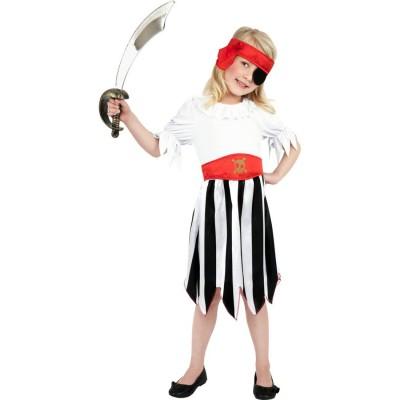 Kinder Piratin Kostum Piratenmadchen Rot Weiss L 158 Cm Kinder