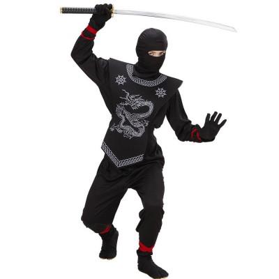 Schwarzer Ninja Kostum Kinder Ninjakostum Samurai Kinderkostum Asia