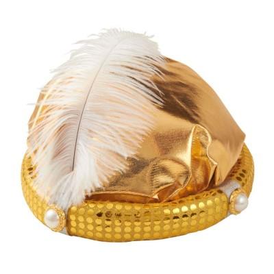 Sultan Turban Orientalischer Hut Gold Mit Perlen Und Feder Aladin