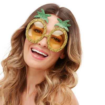Originelles Party-Accessoire Partybrille Hawaii Gold-Grün