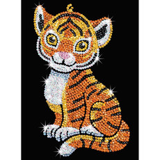 Schickes Sequin Art Red Bild Tiger, 28x37x4cm...