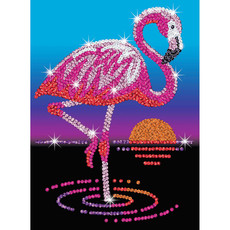 Anmutiges Flamingo Sequin Art Red Bild, 28x37x4cm...