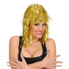 Party Disco Perücke gold Glitter Vamp Fasching
